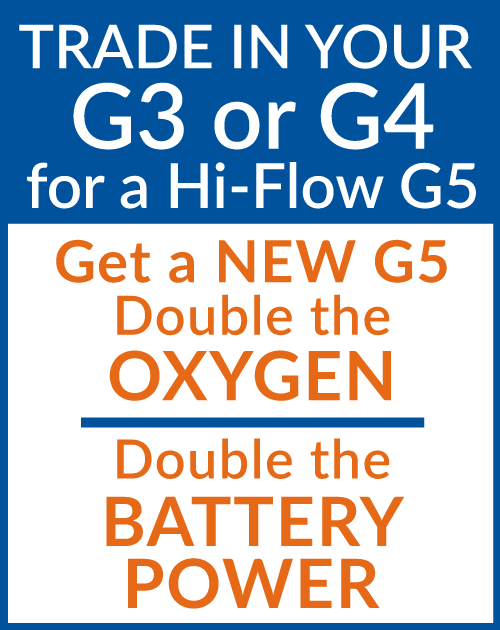 Trade In Your Inogen One G3 or G4 for a Hi-Flow G5! Double the Oxygen, Double the Power!
